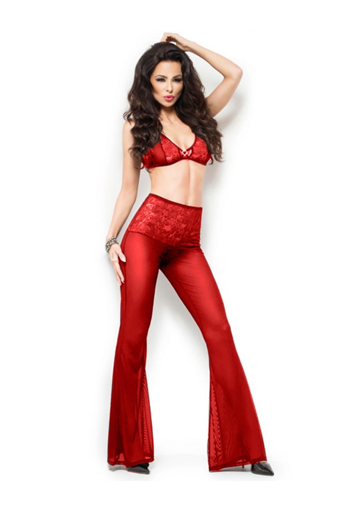 Mite Love Fantazi Giyim Transparan Pantolonlu Takım Kırmızı