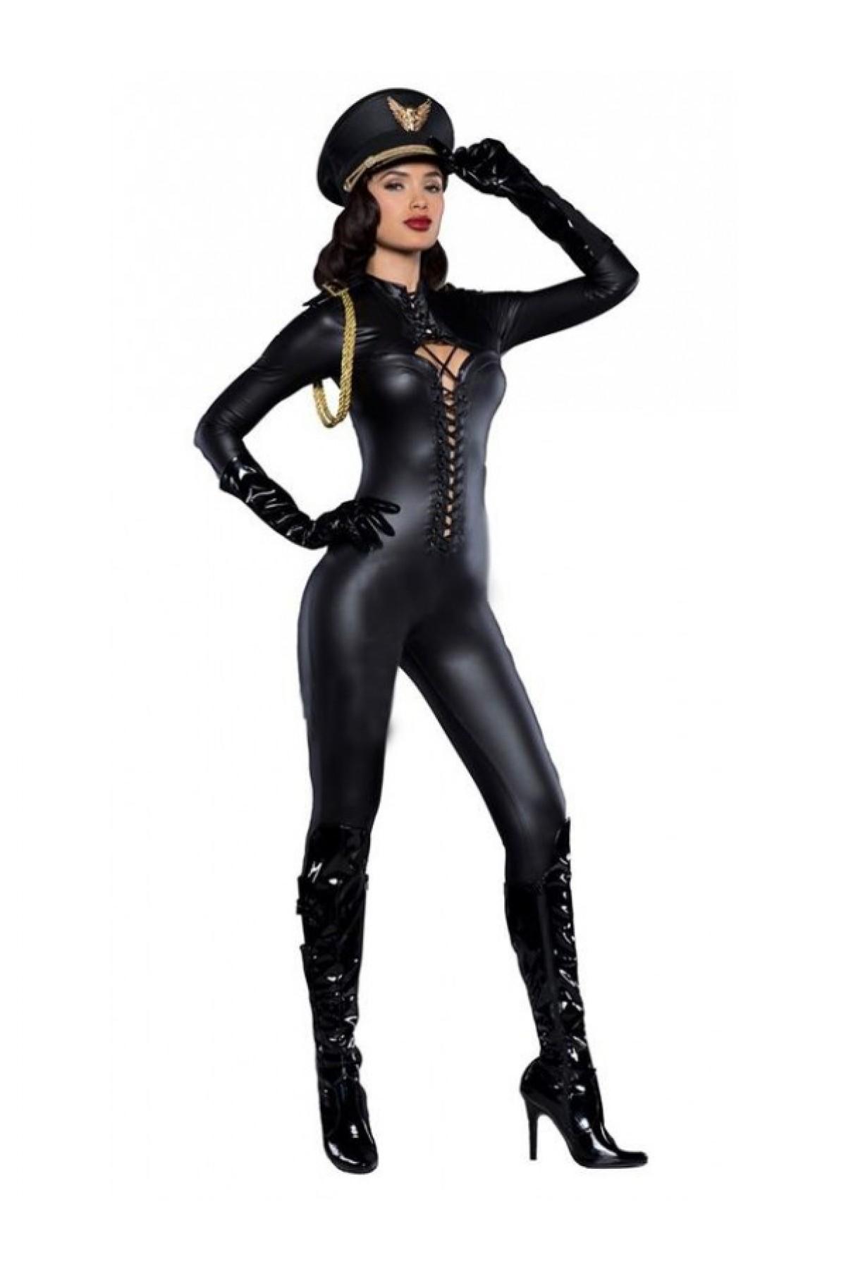 Mite Love Fantezi Polis Kostümü Lame Deri Tasarım