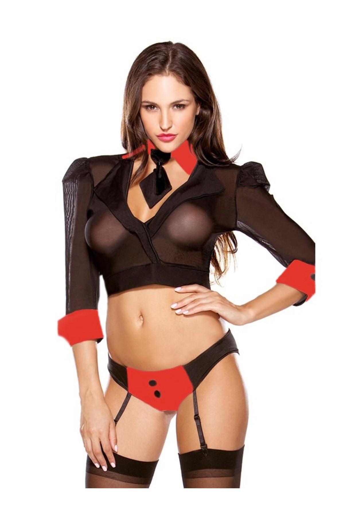 Mite Love Jartiyerli Kırmızı Barmen Kostümü Fantazi Giyim